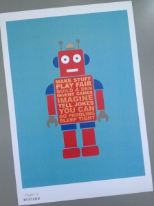 Robot print in red, A4